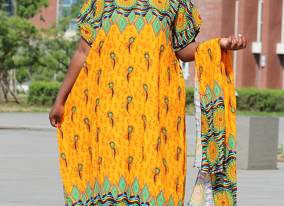 2019 New Fashion Yellow Colorful Printed Party Cotton African Dashiki Dress