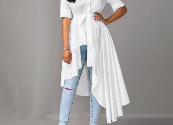 Fashion Belt High Low Blouse ZANZEA Summer Tunic Tops Solid Asymmetrical Shirt