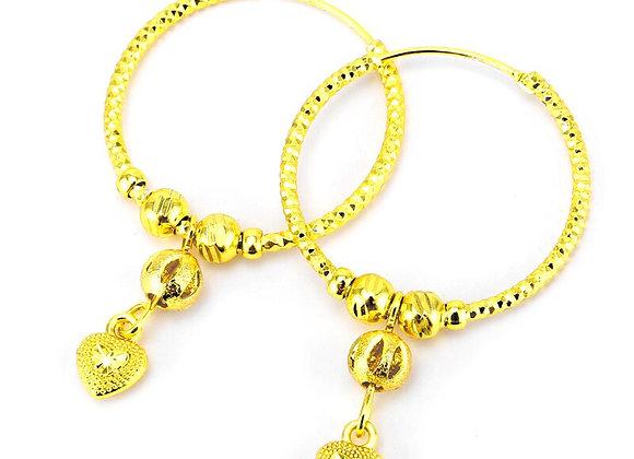Earings 2020 24K  Ball Earrings for Women/Girls Jewelry With Heart Ethiopian