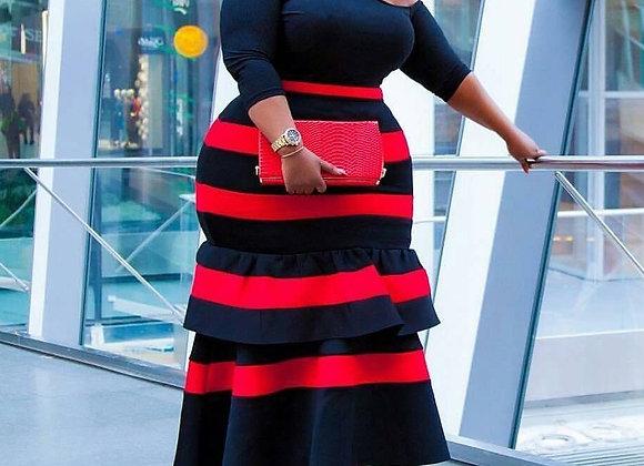 African Women Big Size Dress 4XL 5XL Falbala Patchwork Ankle Length High Waist