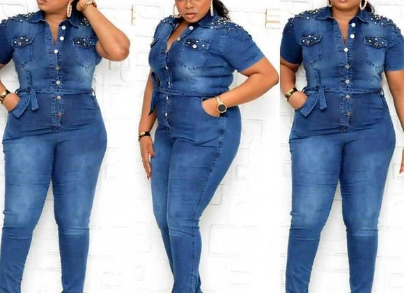 African Clothes for Women Denim Jumpsuits Single Breasted Pocket Bodycon Rompers