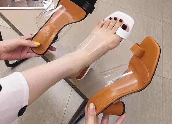 DONLEE QUEEN Transparent Sexy High Heel Slippers Women Summer Shoe Sandal