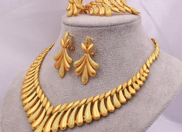 Dubai 24K Gold Color Jewelry Sets for Women Luxury Necklace Earrings Bracelet