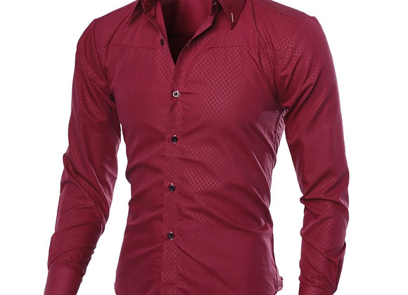 2019 New Men's Casual Grid Shirts Male Slim Fit Business Shirt Tops Men Autumn