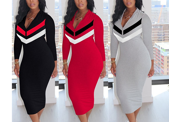 731162 Autumn Winter Women Casual Fashion Home Sexy Print Long Sleeve Dress