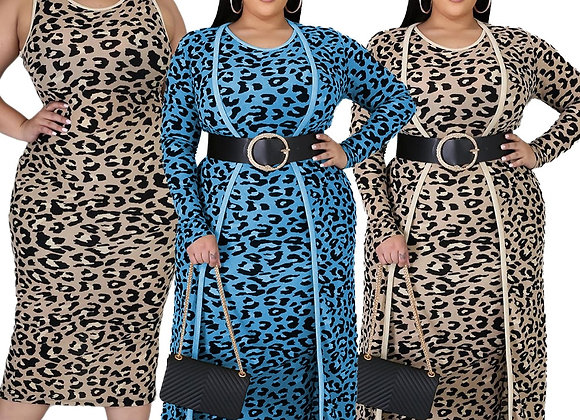 CM.YAYA Plus Size XL-4XL Leopard Print Women's Set Long Sleeve Long Cloak Tops