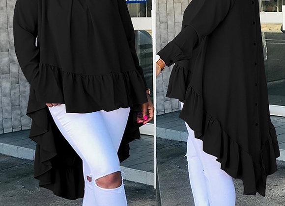 Celmia Women Asymmetrical Tops 2021 Fashion Solid Back Buttons Ruffles Shirts