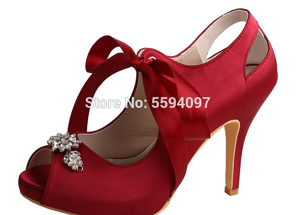 Discount Wedding High Heel Shoes Burgundy Color Party Wear Shoes