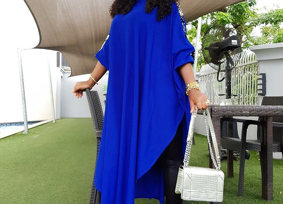 Casual Loose Plus Size Dress Batwing Sleeve Sequin O Neck Three Quarter