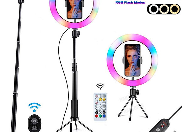10 Inch RGB Ring Light With Tripod Phone Clip Selfie Colorful Photography Light
