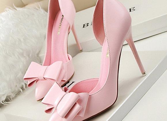 3168-2 Korean Fashion Elegant Sweet Bow High Heel Shoes Slim Heel High Heel