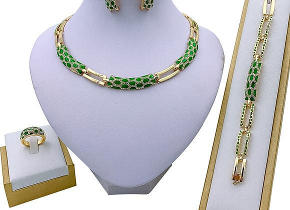 Dubai Women's Jewelry Fashion Green Necklace Bracelet Banquet Elegant Women
