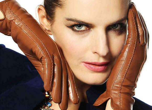 Elegant Women Genuine Lambskin Leather Gloves High Quality Autumn and Winter