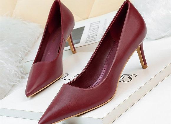 Elegant Women 6cm Medium High Heels Pumps Stiletto PU Leather Designer Burgundy