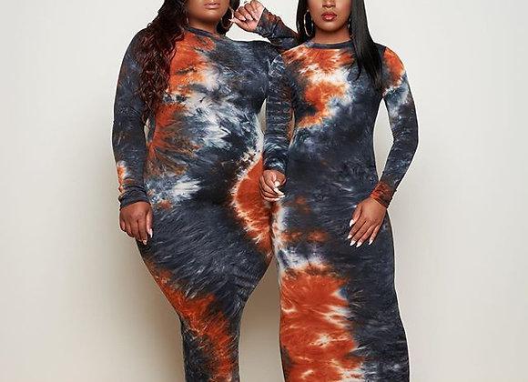 CM.YAYA Autumn Vintage Tie Dye Print Plus Size XL-5XL Long Sleeve Women Bodycon