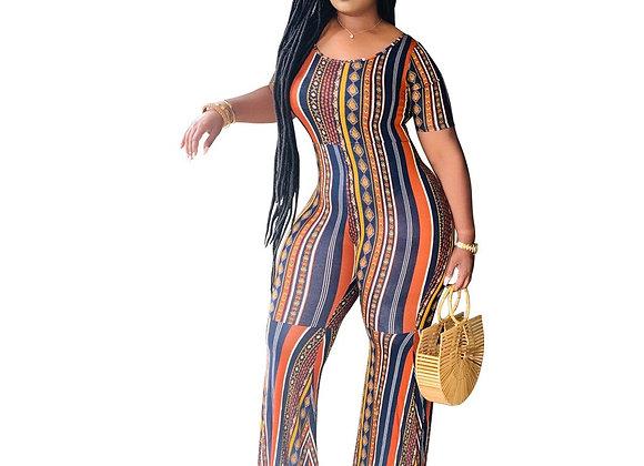 CM.YAYA Women Striped Print Short Sleeve O-Neck Wide Leg Bodycon Jumpsuit