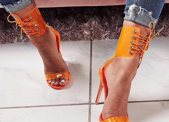 Aneikeh Gladiator Transparent PVC Peep Toe Lace Up High Heel Sandals Sexy Dress