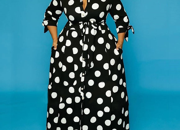 Black and White Polka Dot Dress Plus Size 4xl 5xl Floor Length Long Sleeve