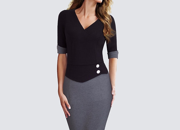 Elegant Women Work Wearing Patchwork v Neck Sheath Office Casual Business Button