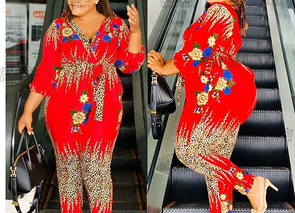African Suit for Lady Fashion Dashiki Chiffon Top and Elastic Pants Suit