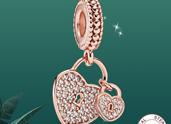 Charms Silver 925 Jewelry Rose Gold Double Heart and Lock Pendant Charm Women