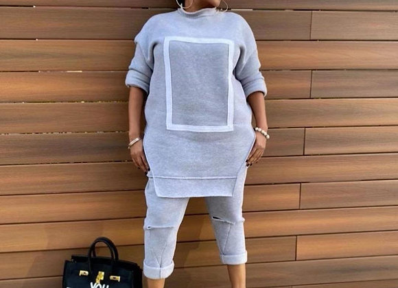 CM.YAYA Activewear Fleece Patchwork Women's Set Crewneck Sweatshirt + Hole Pants