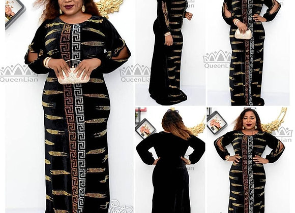 African Dashiki Flowers Pattern Print Dress Sleeve Casual Dress for Women(FSZ#