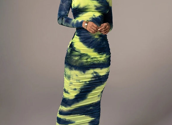 Articat Tie-Dye Print Ruched Christmas Dress for Women Long Sleeve Sexy Bodycon
