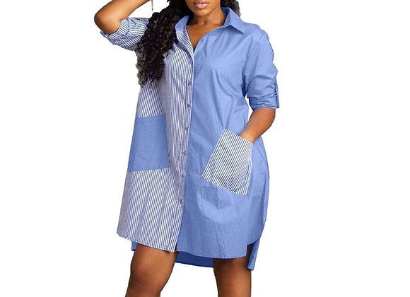 Autumn Long Sleeve Shirt Dress Women Turn-Down Collar Button Up Blouse Dress