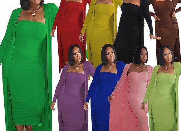 CM.YAYA High Street Women's Set Long Sleeve Cloak Tops Bodycon Midi Maxi Dress