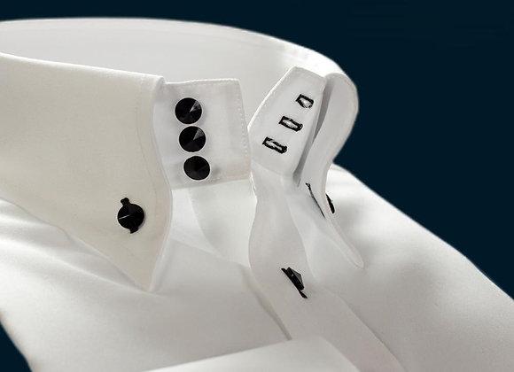 DEEPOCEAN Black and White Mercerized Cotton High-Necked Work Shirt Men Long-