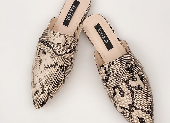 Aneikeh Summer Flats Mules Lady Sandals Slippers Serpentine Slip on Pointed Toe