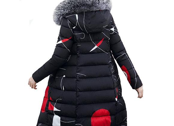 Winter Women Hooded Coat Fur Collar Thicken Warm Long Jacket Female Plus