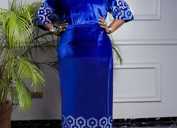 2020 African Dress for Woman Velvet Dress Three Pcs One Set With Stone Big Size