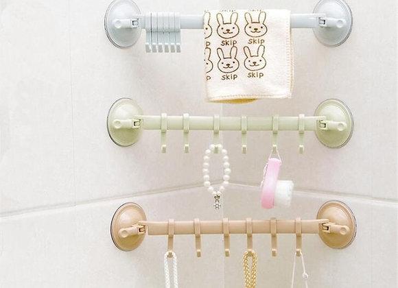 Bathroom 6 Hooks Hanger Rack Wall-Mounted Kitchen Cupboard Cooking Tool Storage