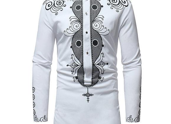 African Tribal Dashiki Longline Shirt 2020 Brand New Long Sleeve Mandarin