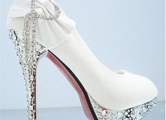 Elegant Women's Shoes Wedding Shoes High-Heeled Shoes Rhinestones Bow Stiletto