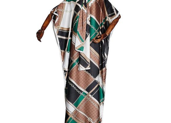 African Fashion Dress Bohemian Party Lady Silk Kaftan Maxi Dresses Loose Batwing