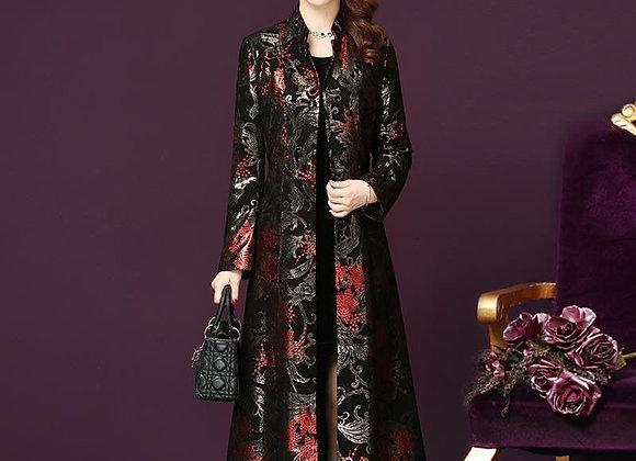 Autum Windbreaker Long Dress Women Slim Elegant Lady Cardigan Trench Coat Fashio