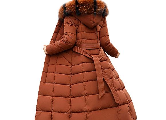 Fashion Winter Jacket Women Big Fur Belt Hooded Thick Down Parkas