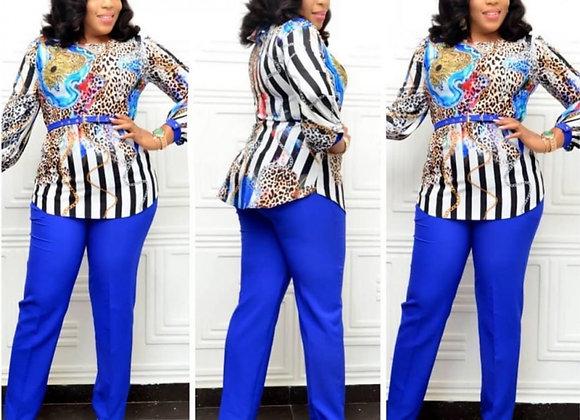 2 Piece Sets Africa Clothing Women Plus Size Pant Suits Ladies Business Office