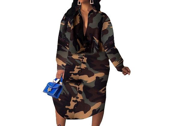 Camouflage Print Long Sleeve Shirt Dress Women Turn-Down Collar Button Up Casual