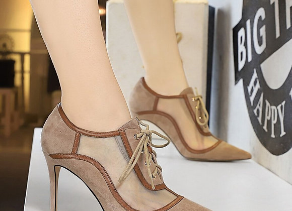 BIGTREE 2020 New Women Thin Heel Shoes Suede Pointed Mesh Hollowed-Out Women