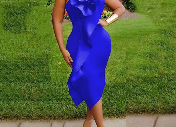 Formal Dresses Solid Color Flowers Irregular Bag Hip Sling High Waist