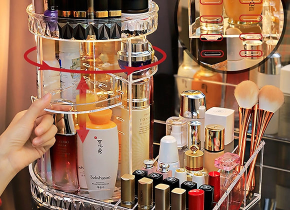 360 Degree Rotation Transparent Acrylic Cosmetics Storage Box Fashion Spin Multi