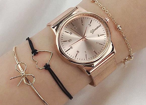 4PCS Women Watches Luxury Wrist Watch Relogio Feminino Clock for Women Milanese