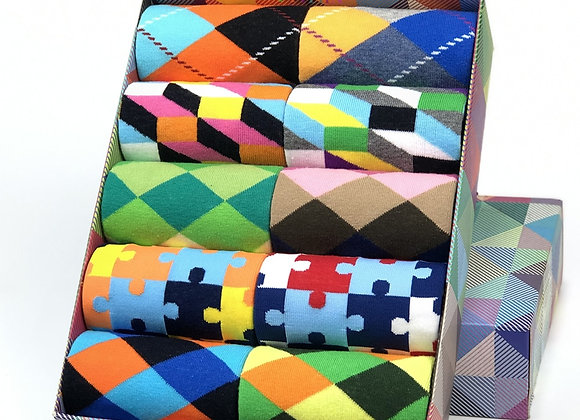 Classic Hot Sale Men Socks Casual Gentleman High Quality Color Puzzle Happy Sock