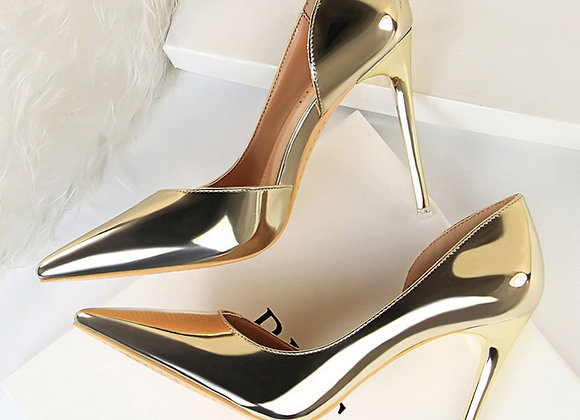 2020 Plus Size 43 Newest Women 10.5cm High Heels Gold Pumps