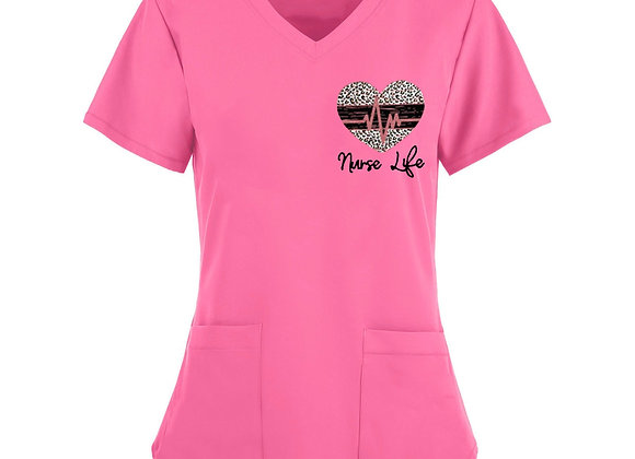 *B219 Women Short Sleeve V-Neck Tops Working Uniform Solid Color Pocket