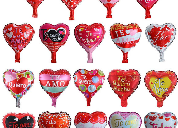 50pcs 10 Inch Spanish TE AMO Heart-Shaped Aluminium Foil Balloons Romantic Vale